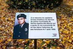 Hommage au capitaine Ernest Chalifoux , tué en service le 7 août 1956